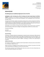 Filo Mining Secures Conditional Approval to list on the TSX (CNW Group/Filo Mining Corp.)